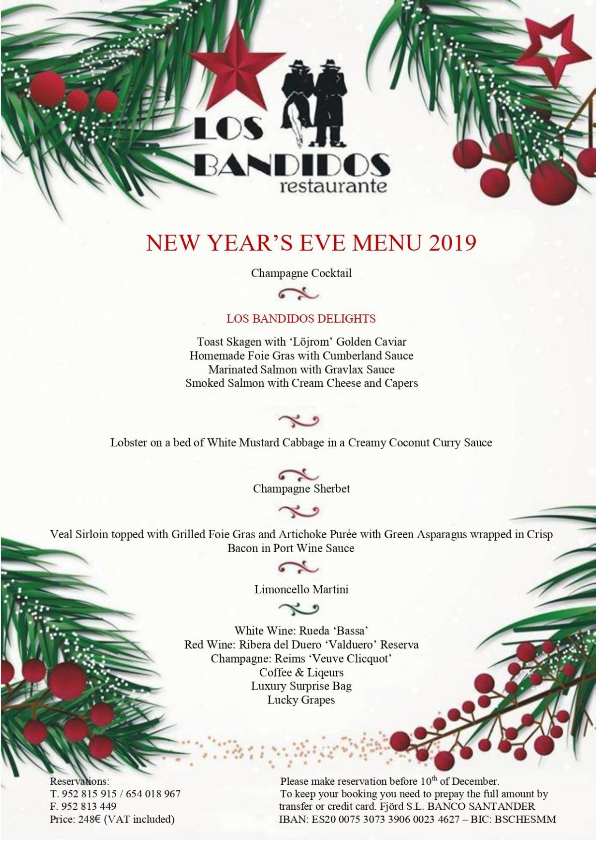 Nuevo menú de fin de año en Los Bandidos