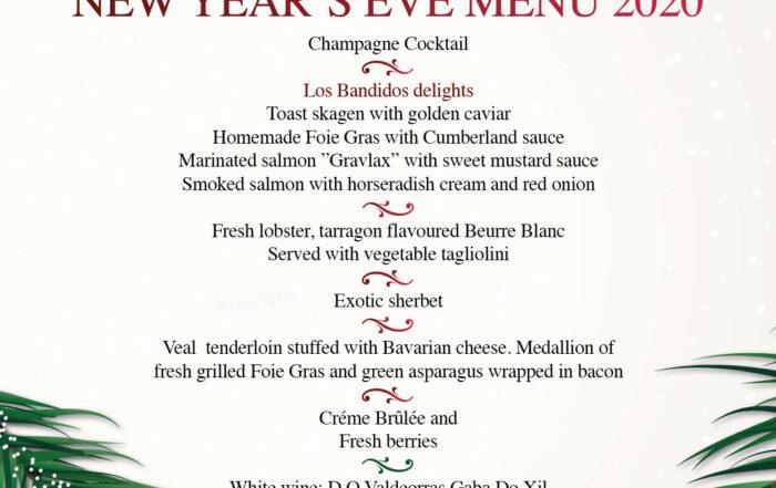 New Year's Eve Menu at Los Bandidos Restaurant