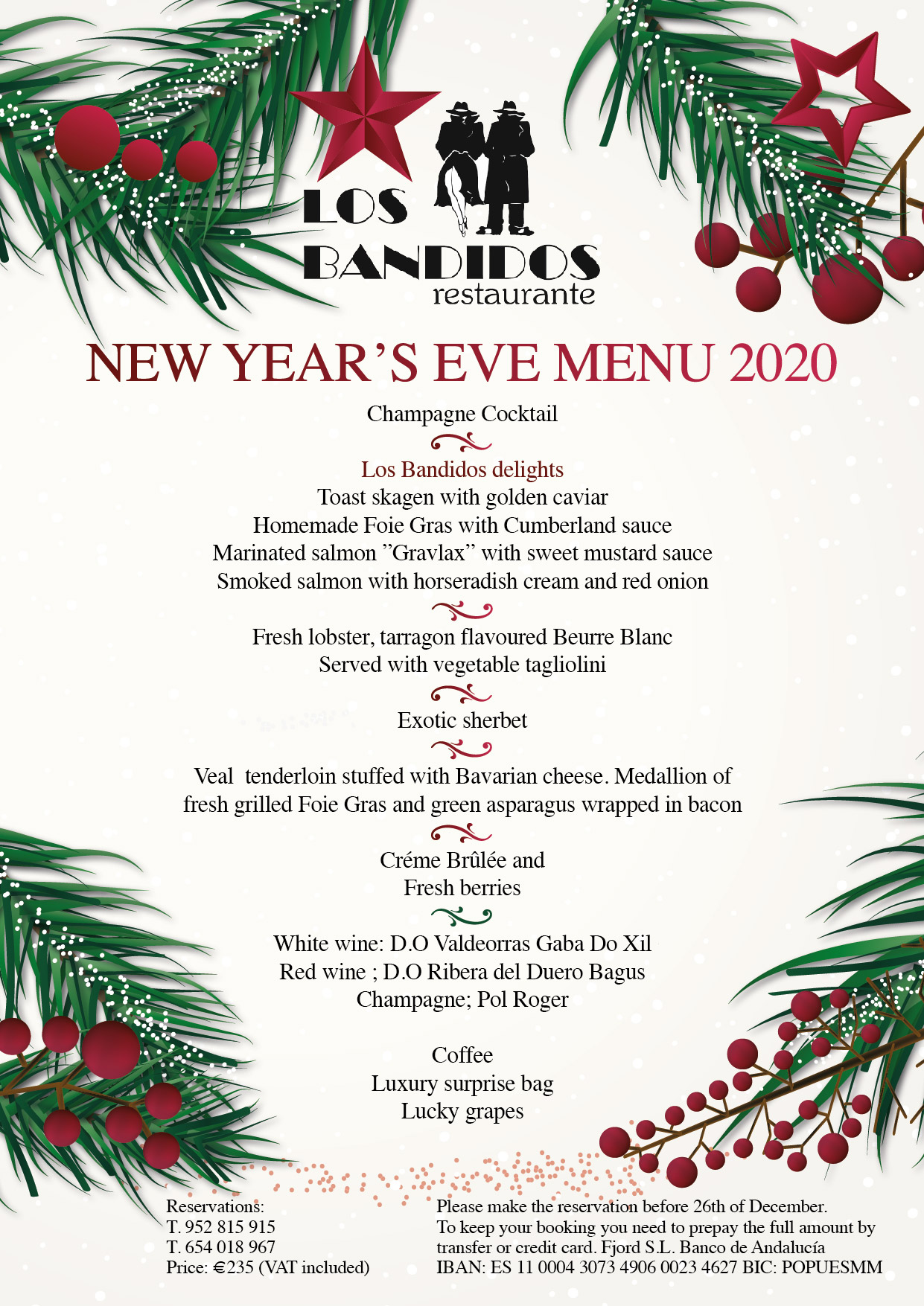 New Year's Eve Menu at Los Bandidos Restaurant